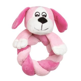 Puppy Ring Thing Dog Plush Velour Toy Pet Squeaker Toys Blue Pink Squeakie