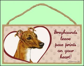 "Greyhound 10""x5"" Leave Paw Prints Dog Sign"