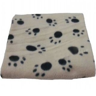 Hot Soft Handcrafted Cozy Warm Paw Prints Pet Cat Dog Fleece Blanket Mat Beige