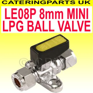 LE08P Mini Isolator Isolating Ball Valve 8mm Compression on Off LPG Nat Gas