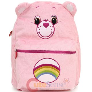 "Care Bears Cheer Bear Pink Plush School Backpack 16"" Large Bag with Ear"