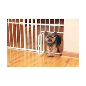 "Extra Wide Metal Expandable Pet Gate Dog Door 24"" Tall Safety Gates Products"