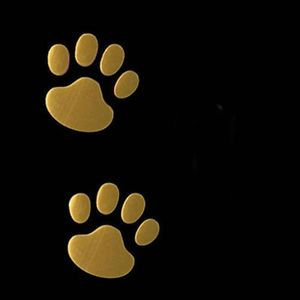 Gold 3D Bear Dog Animal Paw Foot Print Car Window Bumper Body Decal Sticker