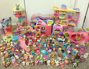 Littlest Pet Shop Lot 128 Pets Cats Dogs Paw Powered Cruiser Playground Town Car
