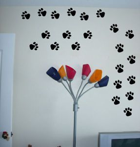 Paw Prints Set Vinyl Wall Decal Stickers Dog Animal