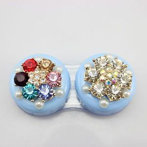 Eye Contact Lens Case Eye Care Color Flower with Diamond Bling Style