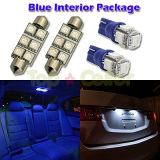 6pcs Blue LED Lights for Map T10 Dome 1 72 License Plate Interior Package