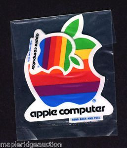 4 Authentic Vintage Apple Computer Logo Stickers Apple II II Early 1980'S