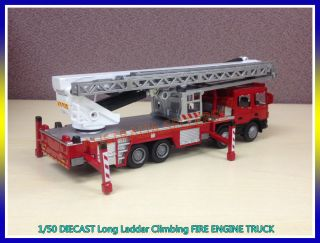 Collectable 1 50 KDW Scania Diecast Long Ladder Climbing Fire Truck Model