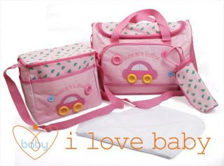 Pink Car Button Baby Diaper Nappy Changing Bags 4pcs