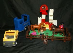 Lego Duplo Farm Pieces Horses People Figures Fences Truck Trailer EXTRAS