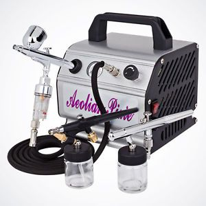 New 3 Airbrush Kit Air Compressor Dual Action Spray Paint Guns Tattoo Nail Art