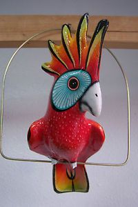 Large Paper Mache Hanging Bird Parrot Cockatoo Garden Decor Home Folk Art Red