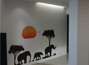 African Elephants Trees Wall Art Decal Animal Paper Sticker Decor Decals