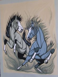 Frank Vigil Native American Horses Reproduction Screenprint