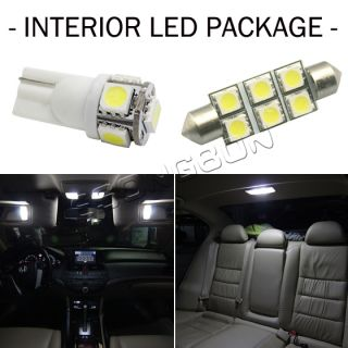 7x White LED Interior Light Package Deal Map T10 Dome 211 2 LICENCE Plate Bulb