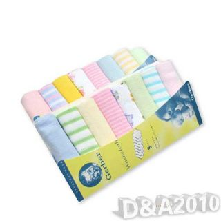 Baby Kid Newborn Child Infant Small Towel Bathing Feeding Soft Washcloth 8PC Bag