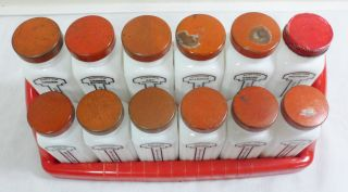 12 Vtg Art Deco Griffiths Milk Glass Spice Jars Bottles w Red Metal Lids Rack