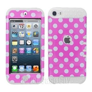 For Apple iPod Touch 5 Gen Polka Dot on Pink w Glow in Dark Silicone Cover Case