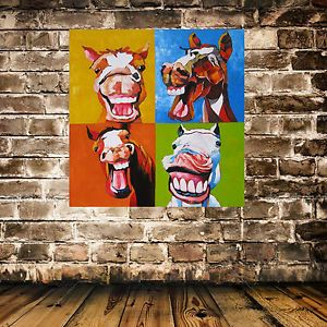 Dwell Laughing Horse Painting Large Abstract Art Hand Painted Oil Canvas Board