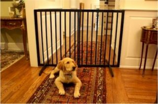 New Black Home Pet Barrier 36 inch Height Tall Dog Indoor Gate Solid Wood Safety