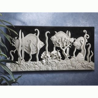 "31"" Art Deco Black Sea Aquarium Sea of Fish Bas Relief Asymmetrical Wall Frieze"
