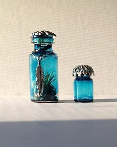 Miniature Blue Glass Bottles Fairy Witch Doll House Collectable Pretty OOAK Art