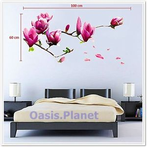 Giant Magnolia Flowers Tree Wall Sticker Decals Art Paper Decor Mural