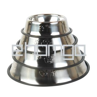 Stainless Steel Pet Dog Cat Water Food Feeder Bowl Dish Non Skid 4 18x24cm