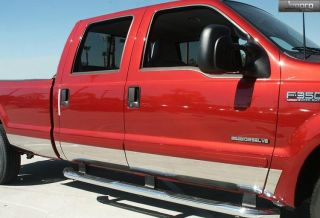 "99 10 Ford Super Duty Crew Cab Long Bed Rocker Panel Trim Moulding 6"" Wide 12pc"
