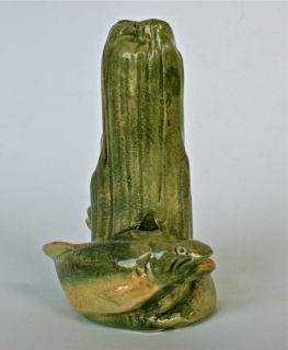 "Weller Muskota 5"" Two Fish Dock Pilings Bud Vase Circa 1920's Great Color"