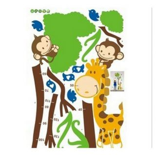 Growth Chart Cartoon Giraffe Child Nursery Removable Mural Decal Wall Sticker