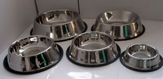 No Tip Non Slip Dog or Cat Food or Water Bowl Stainless Steel Pet Bowl
