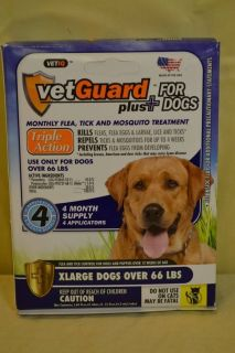 Vetguard Plus XLarge Dogs 4 Month Supply Flea Tick Mosquito Treatment New E