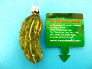 Authentic German Good Luck Pickle Frost Blown Glass Christmas Ornament