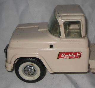 "Vintage Buddy L 28"" Long Car Auto Carrier Transport Tractor Trailer Tan"