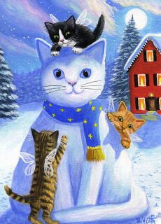 Kittens Cats Angels Fairies Snow Kitty Moon House Original ACEO Painting Art