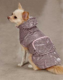Pink Gingham Dog Rain Coat Jacket Pet Waterproof Raincoat Rainy Day