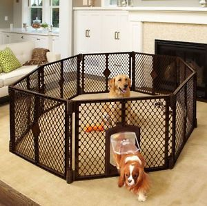 North States Petyard Passage Pet Gate Play Yard w Swing Door 8 Panel 8799