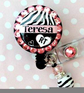 Respiratory Therapist Custom Name Retractable ID Reel Badge Holder with Charm