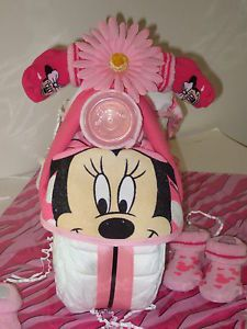 Minnie Mouse Diaper Cake Great Baby Shower Gift Free Wipes Gift Bag and Card