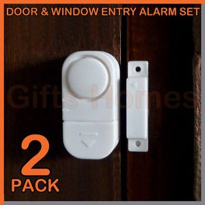 2pc Twin Door Window Entry Alarm Garage Home Gate Protection Security Durable