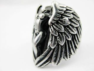 Fashion Silver Men's Freedom Angel Stainless Steel Punk Ring Jewelry Size 12