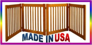 "New Pet Dog 4 Panel 27"" Tall Expandable Wide Wood Wooden Gate Door Fence Bronze"
