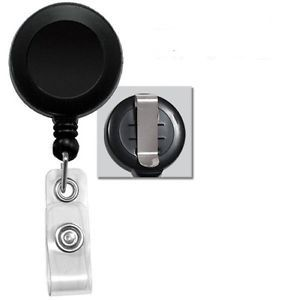 Lot of 50 Black Retractable Reel ID Badge Holder USA Wholesale 50 Pcs Belt Clip