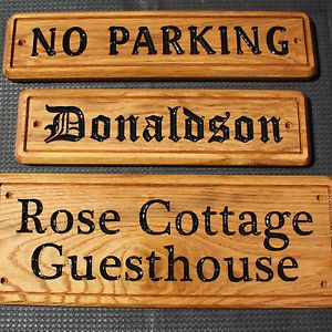 Custom Carved Oak House Door Name Number Gate Wall Garden Fence Gift Plaque Sign