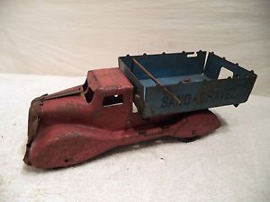 Vintage Marx Pressed Steel Toy Sand Gravel Truck Stake Body Delivery Wood Wheels