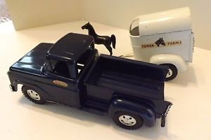 Vintage Blue Tonka Pick Up Truck and Horse Trailer and Horse Excellent
