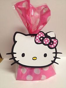 10 Hello Kitty Birthday Party Treat Bags Goody Bags Loot Bags Zebra Pink
