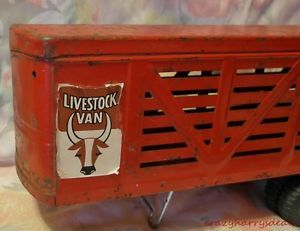 Vintage Ertl Livestock Trailer Fifth Wheel Toy Farm Stock Hauler Cattle Horse